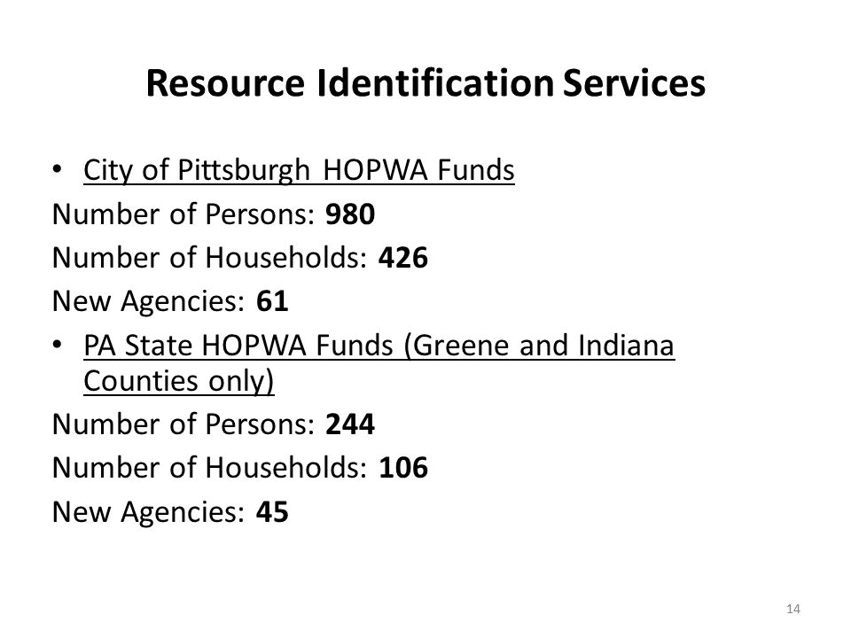 14 Resource Identification Services City of Pittsburgh HOPWA Funds Number of Persons: 980 Number of Households: 426 New Agencies: 61 PA State HOPWA Funds (Greene and Indiana Counties only) Number of Persons: 244 Number of Households: 106 New Agencies: 45