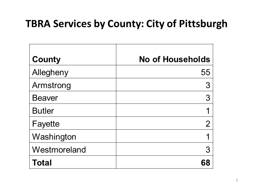 20 Summary Continued The Coalition continued to identify additional housing resources for Persons Living with HIV/AIDS in the region; 61 new housing services agencies were identified in the 2011/2012 program year in the City of Pittsburgh HOPWA Counties.