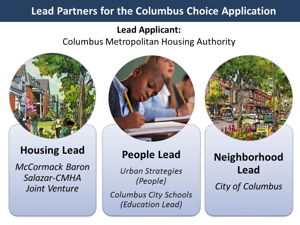 The Columbus Choice Collaboration Near East Side Revitalization Lead, Housing Columbus Metropolitan Housing Authority Developer, Housing McCormack Baron Salazar Architecture & Engineering Moody Nolan, EMH&T, GCI XYZ People Strategy Urban Strategies PolicyWorks Local Partners Commercial / Retail The Robert Weiler Co.