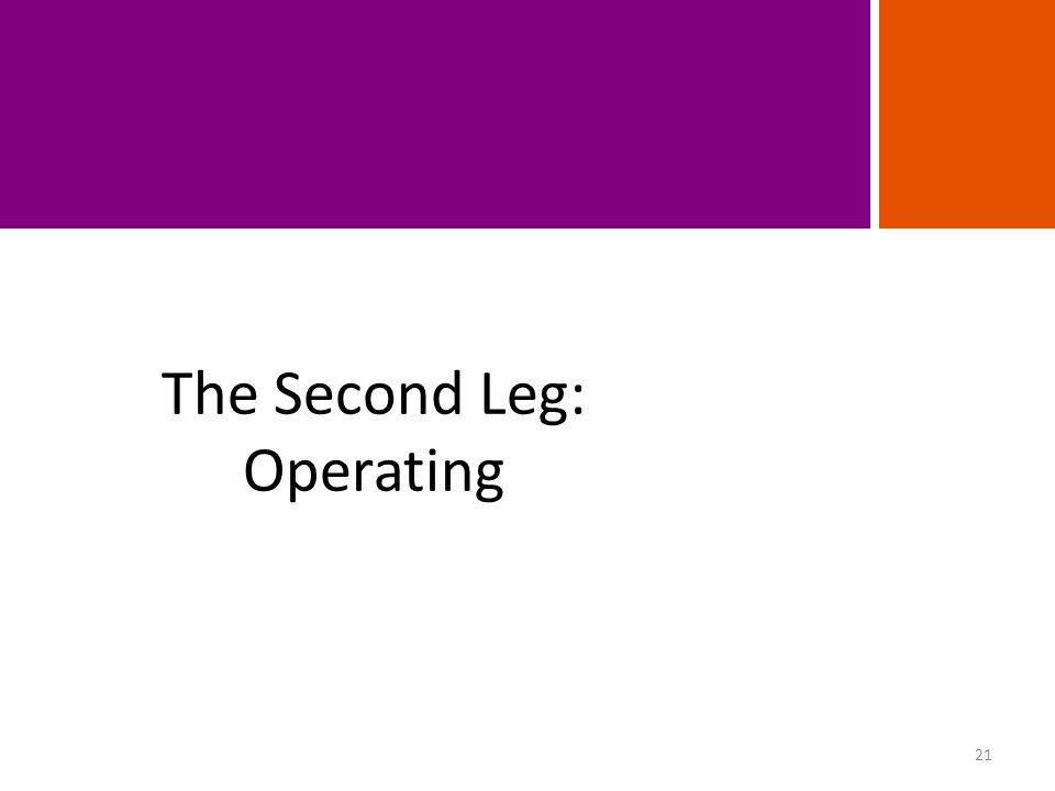 The Second Leg: Operating 21