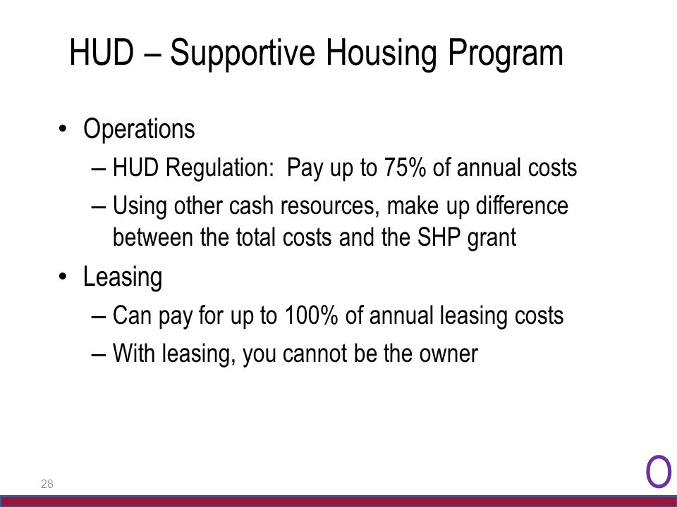 28 HUD – Supportive Housing Program Operations – HUD Regulation: Pay up to 75% of annual costs – Using other cash resources, make up difference betwee