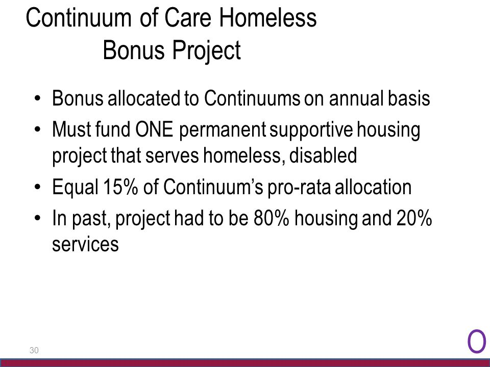 30 Continuum of Care Homeless Bonus Project Bonus allocated to Continuums on annual basis Must fund ONE permanent supportive housing project that serv