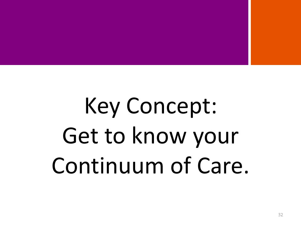 Key Concept: Get to know your Continuum of Care. 32