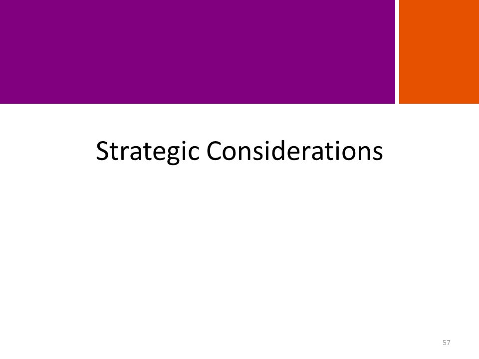 Strategic Considerations 57