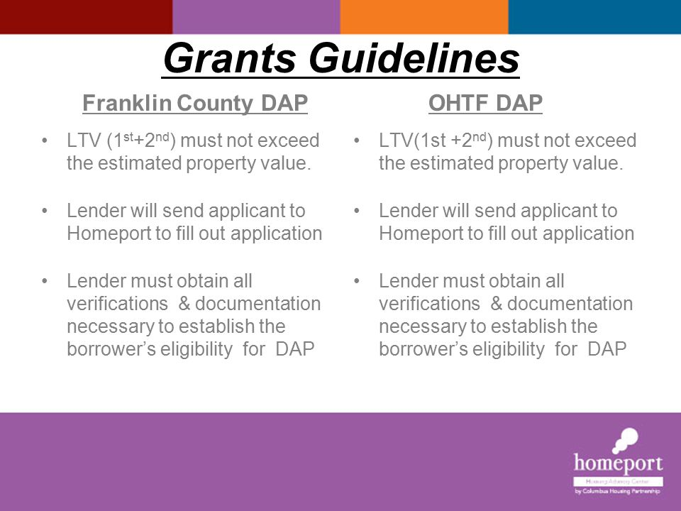 Grants Guidelines I Franklin County DAP OHTF DAP Homeport reviews applications within 20 business days of receiving a completed pack.