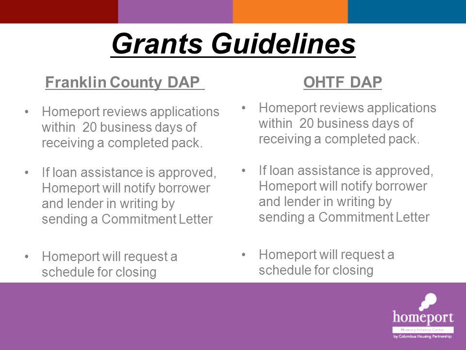 Grants Guidelines I Franklin County DAP OHTF DAP Lender or Title Co.