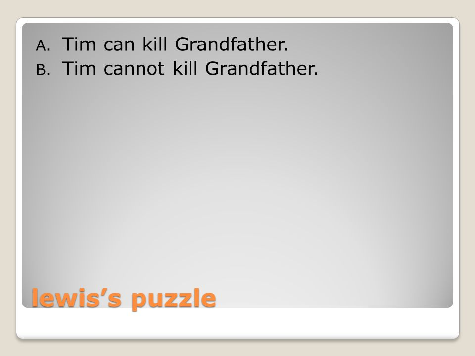 lewis's puzzle A.Tim's killing Grandfather is compossible with the R facts.