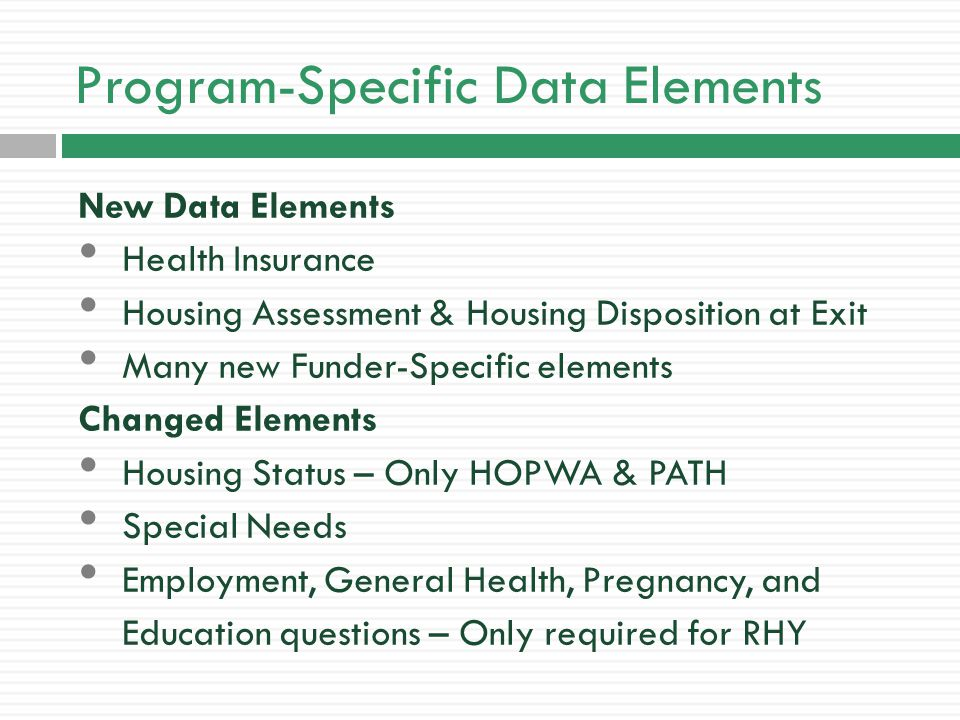 RHY Data Elements Runaway and Homeless Youth Programs (RHY) have the most data elements by far.