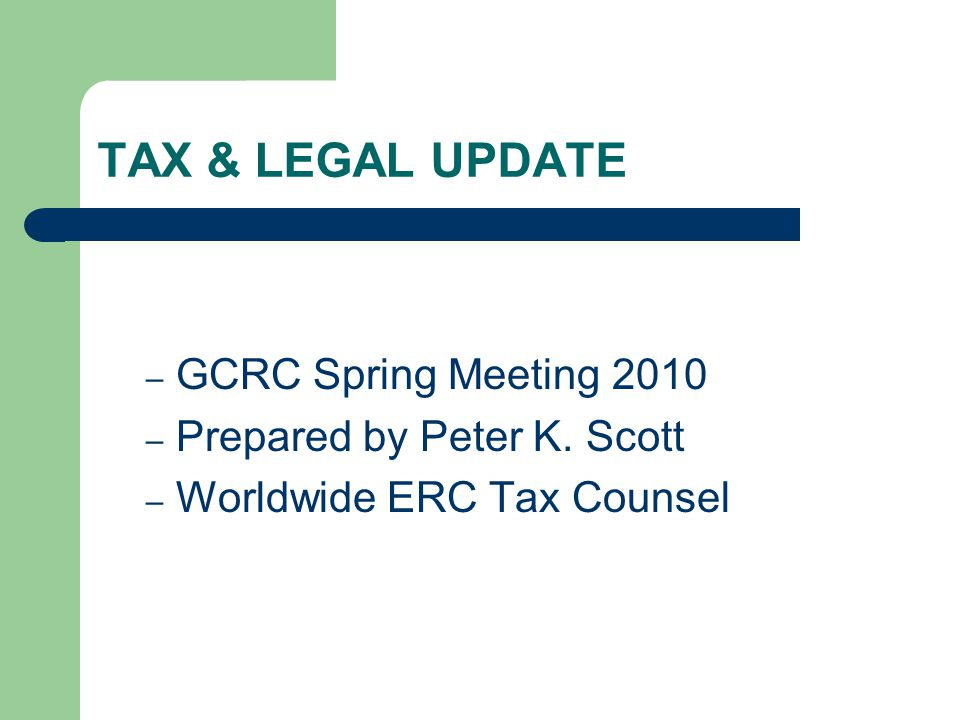 Topics IRS Employment Tax Audits Begin Homebuyer Credit Issues Underwater Homeowner Programs – HUD HAMP program – FNMA Deed for Lease Additional FAQs on New RESPA Rule – Deductibility of Loan Origination Fees Anti-flipping Timing Rules Suspended Tax Relief for Defective Drywall.