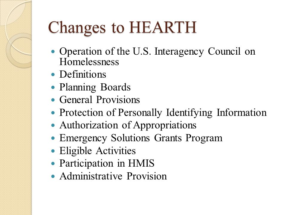Changes to HEARTH Operation of the U.S.