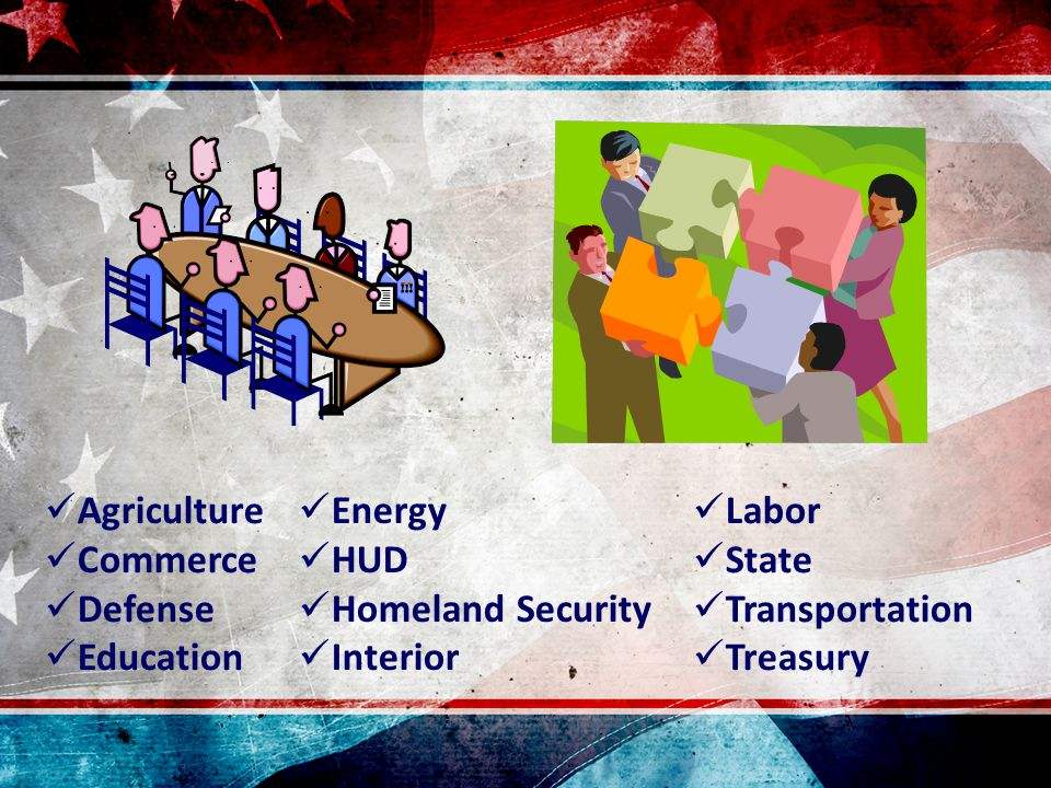 Agriculture Commerce Defense Education Labor State Transportation Treasury Energy HUD Homeland Security Interior