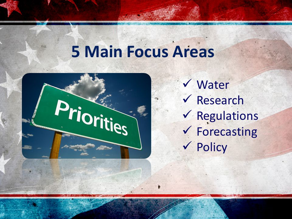 Water Research Regulations Forecasting Policy 5 Main Focus Areas