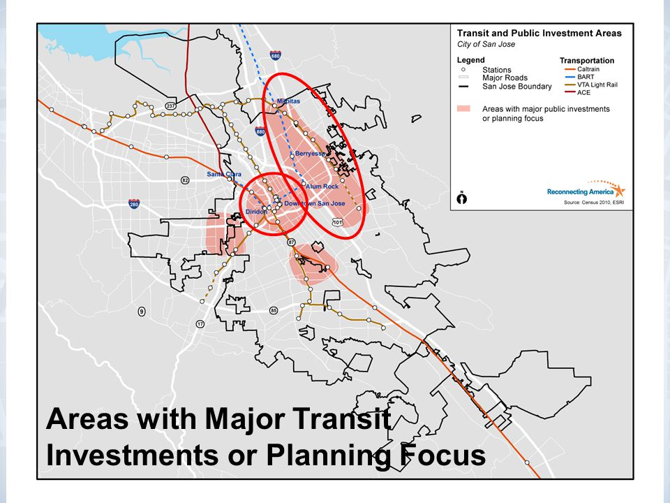 Areas with Major Transit Investments or Planning Focus