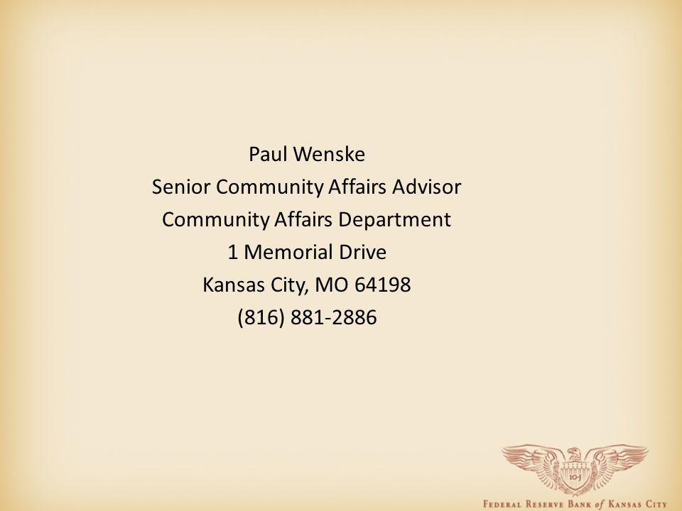 Paul Wenske Senior Community Affairs Advisor Community Affairs Department 1 Memorial Drive Kansas City, MO 64198 (816) 881-2886