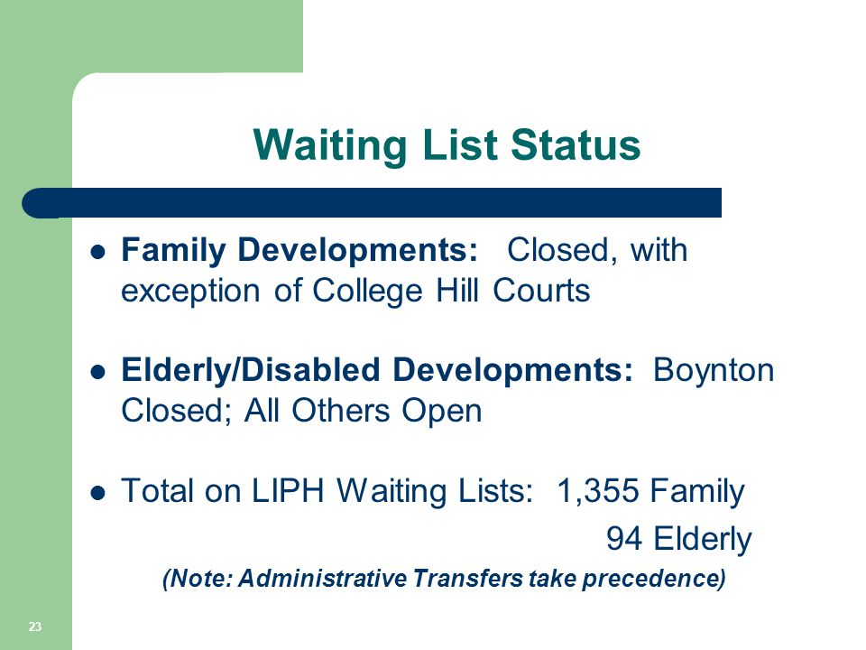 Waiting List Status Family Developments: Closed, with exception of College Hill Courts Elderly/Disabled Developments: Boynton Closed; All Others Open
