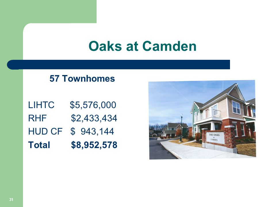 Oaks at Camden 57 Townhomes LIHTC $5,576,000 RHF $2,433,434 HUD CF $ 943,144 Total $8,952,578 31