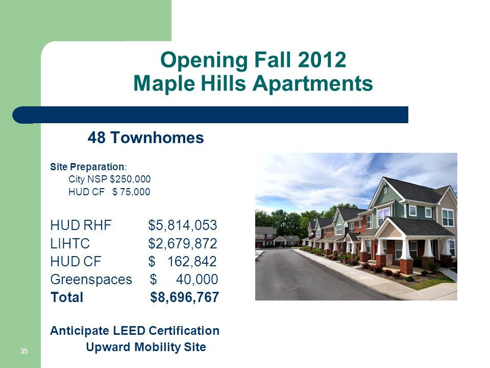 Opening Fall 2012 Maple Hills Apartments 48 Townhomes Site Preparation: City NSP $250,000 HUD CF $ 75,000 HUD RHF$5,814,053 LIHTC$2,679,872 HUD CF$ 162,842 Greenspaces $ 40,000 Total $8,696,767 Anticipate LEED Certification Upward Mobility Site 35