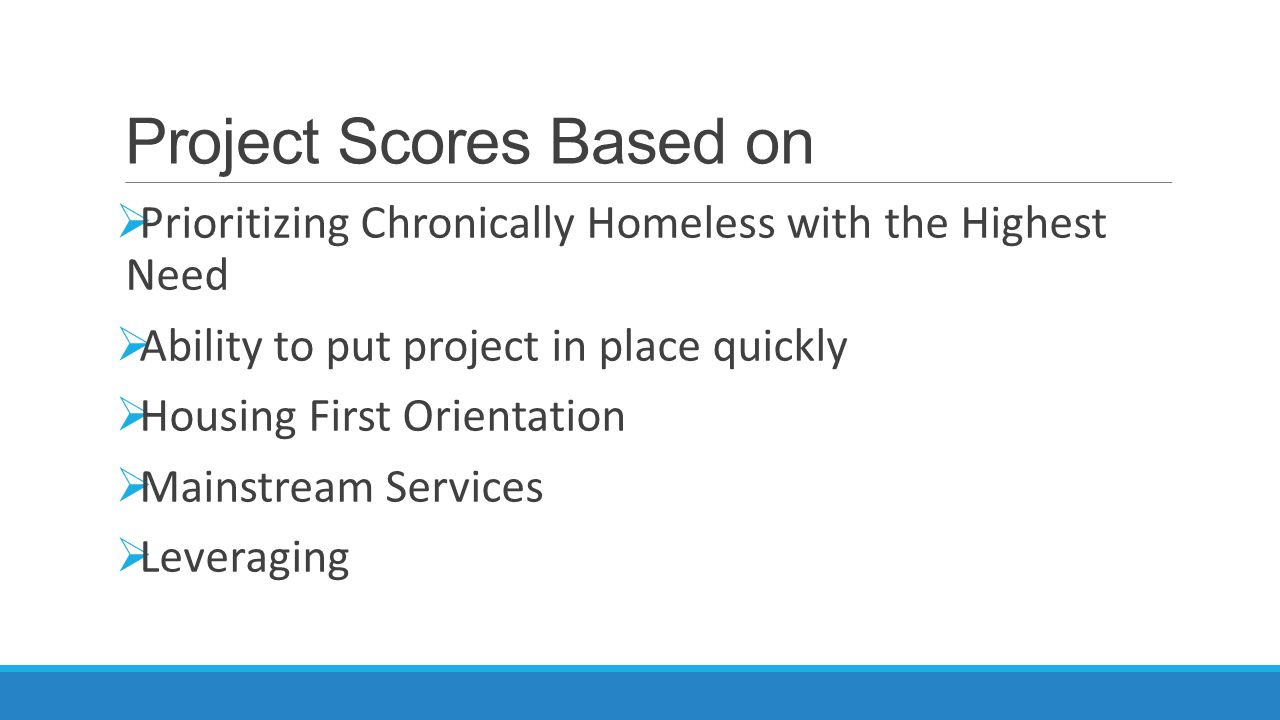 Project Scores Based on  Prioritizing Chronically Homeless with the Highest Need  Ability to put project in place quickly  Housing First Orientation  Mainstream Services  Leveraging