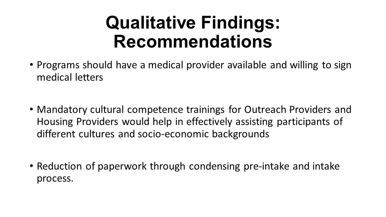 Qualitative Findings: Recommendations Programs should have a medical provider available and willing to sign medical letters Mandatory cultural compete