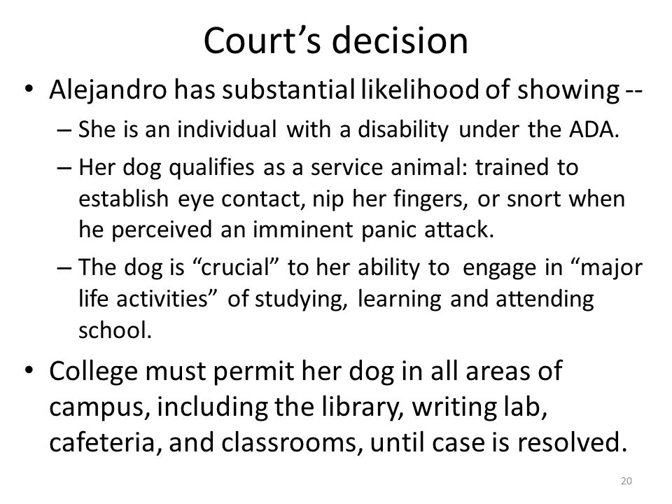 Court's decision Alejandro has substantial likelihood of showing -- – She is an individual with a disability under the ADA.