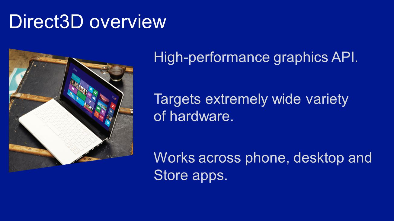 High-performance graphics API. Targets extremely wide variety of hardware.