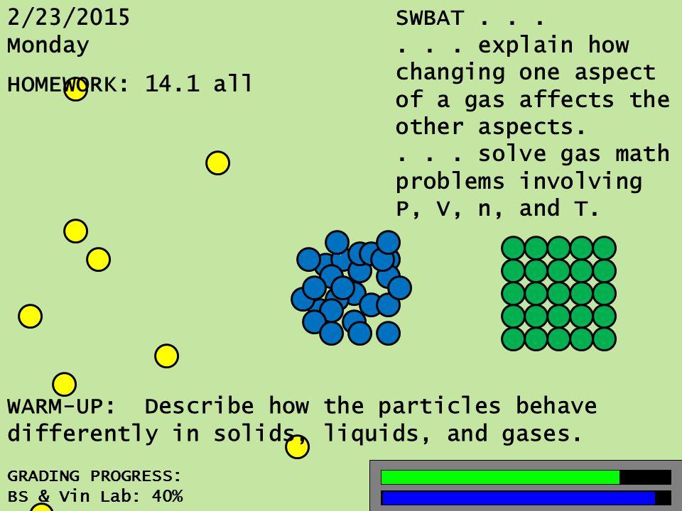 2/23/2015 Monday GRADING PROGRESS: BS & Vin Lab: 40% SWBAT......