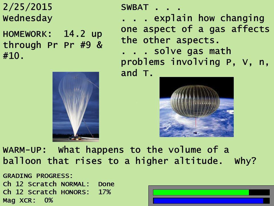 2/25/2015 Wednesday SWBAT......