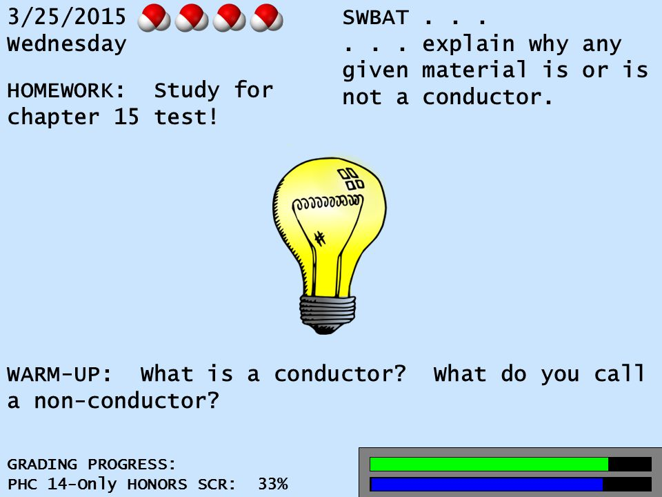 3/25/2015 Wednesday SWBAT......explain why any given material is or is not a conductor.