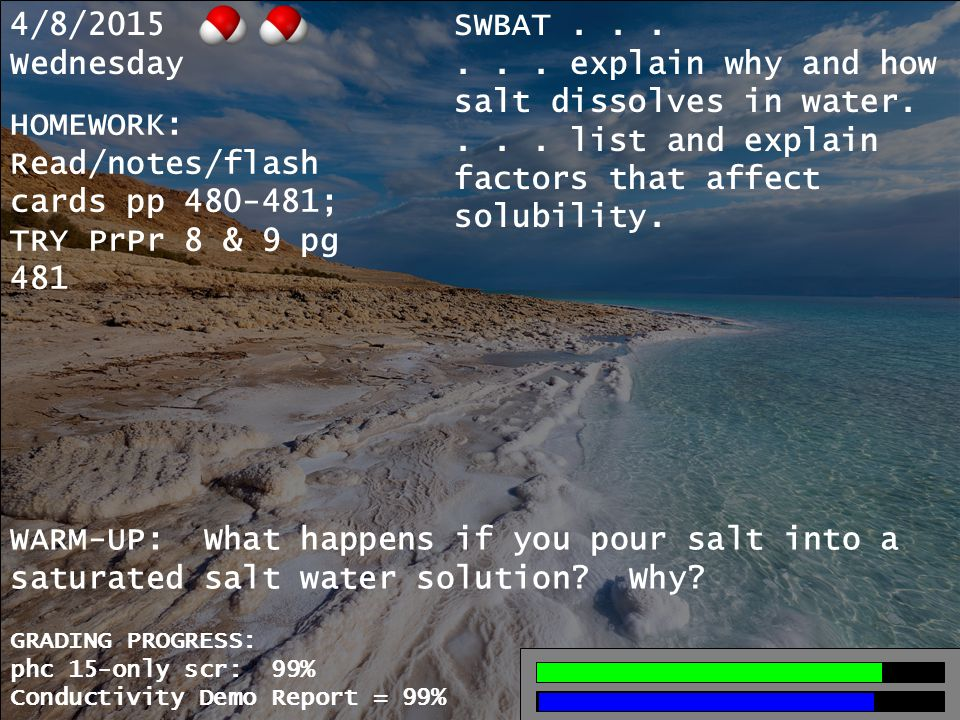 4/8/2015 Wednesday SWBAT...... explain why and how salt dissolves in water....