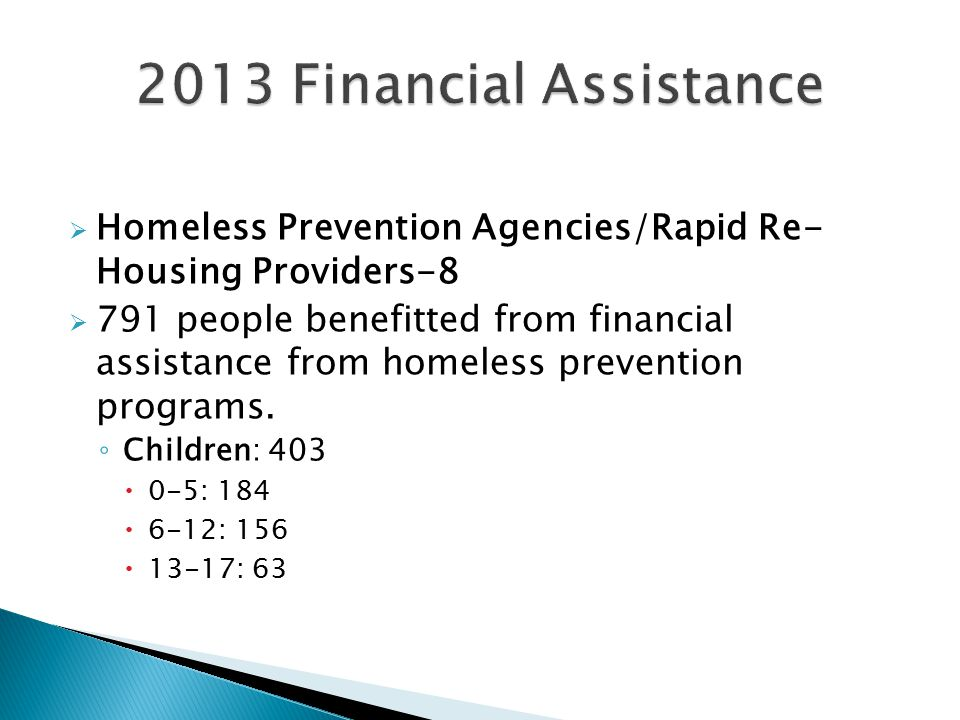  Homeless Prevention Agencies/Rapid Re- Housing Providers-8  791 people benefitted from financial assistance from homeless prevention programs.