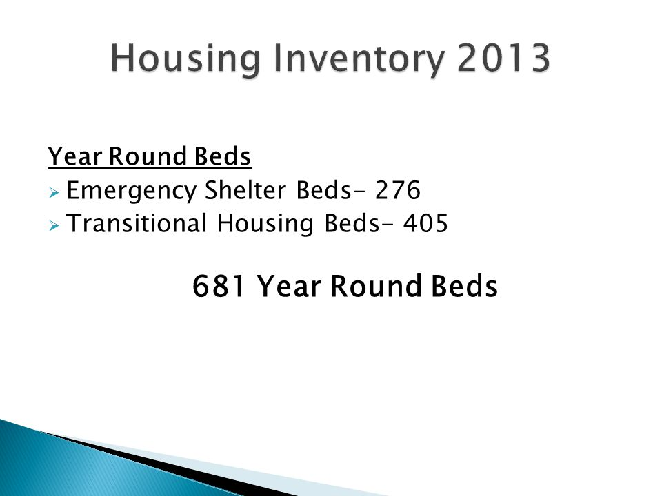 Year Round Beds  Emergency Shelter Beds- 276  Transitional Housing Beds- 405 681 Year Round Beds