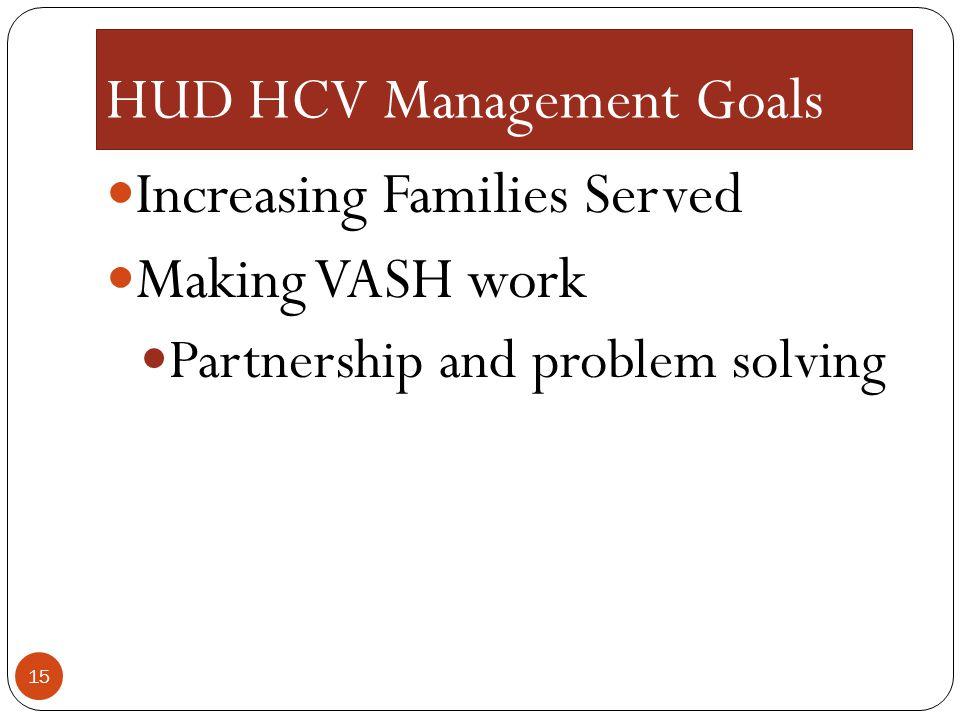 HUD HCV Management Goals Increasing Families Served Making VASH work Partnership and problem solving 15