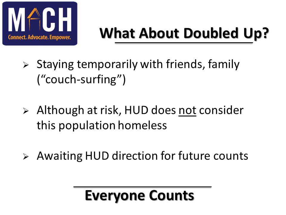 "Everyone Counts Everyone Counts What About Doubled Up? What About Doubled Up?  Staying temporarily with friends, family (""couch-surfing"")  Although"