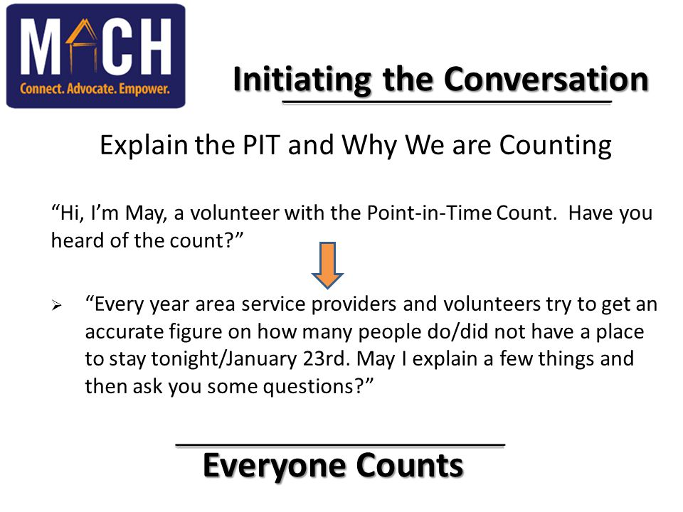 "Everyone Counts Everyone Counts Initiating the Conversation Explain the PIT and Why We are Counting ""Hi, I'm May, a volunteer with the Point-in-Time C"