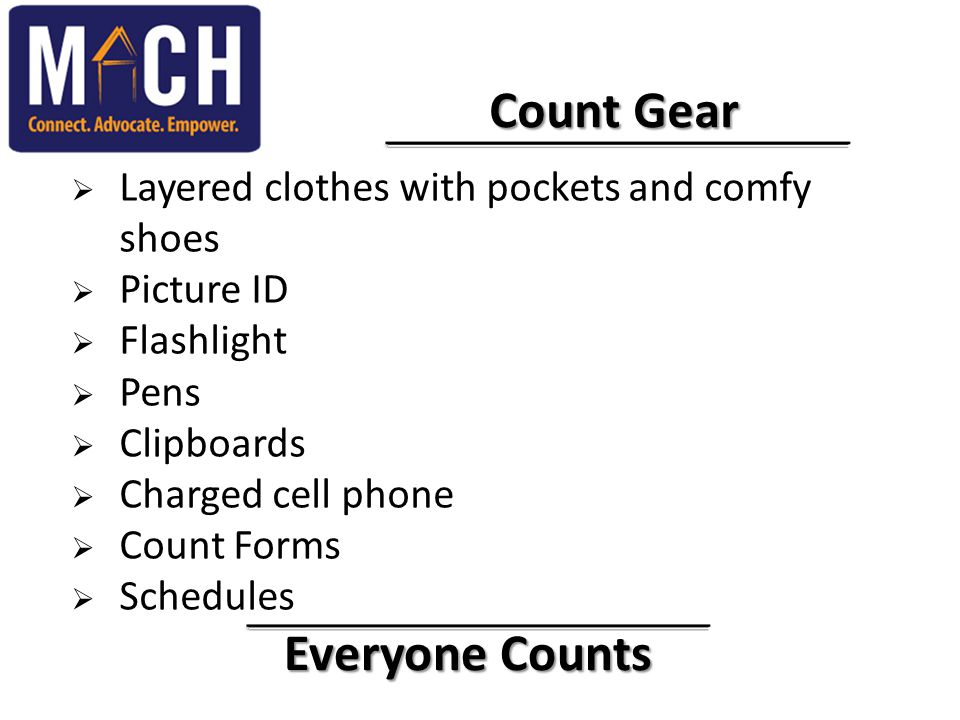 Everyone Counts Everyone Counts Count Gear Count Gear  Layered clothes with pockets and comfy shoes  Picture ID  Flashlight  Pens  Clipboards  C