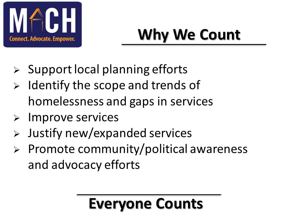 Everyone Counts Everyone Counts Why We Count Why We Count  Support local planning efforts  Identify the scope and trends of homelessness and gaps in