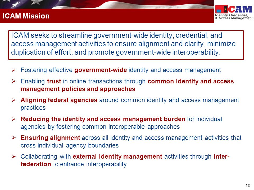 10 ICAM seeks to streamline government-wide identity, credential, and access management activities to ensure alignment and clarity, minimize duplicati
