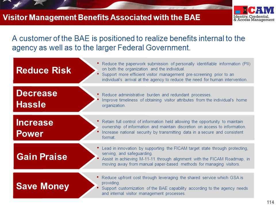 114 A customer of the BAE is positioned to realize benefits internal to the agency as well as to the larger Federal Government. Visitor Management Ben
