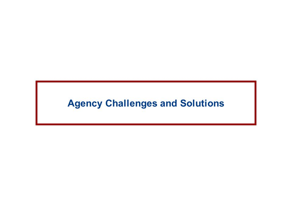 Agency Challenges and Solutions