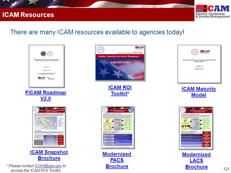 121 There are many ICAM resources available to agencies today! ICAM Resources FICAM Roadmap V2.0 ICAM ROI ToolkitICAM ROI Toolkit* ICAM Maturity Model