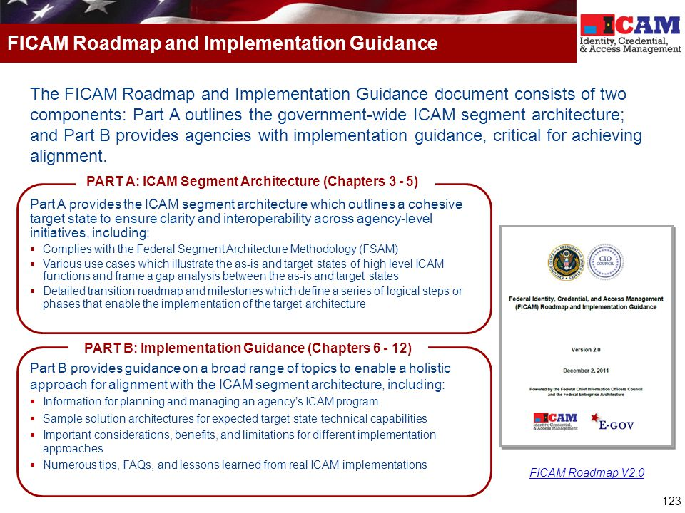 123 FICAM Roadmap and Implementation Guidance The FICAM Roadmap and Implementation Guidance document consists of two components: Part A outlines the government-wide ICAM segment architecture; and Part B provides agencies with implementation guidance, critical for achieving alignment.