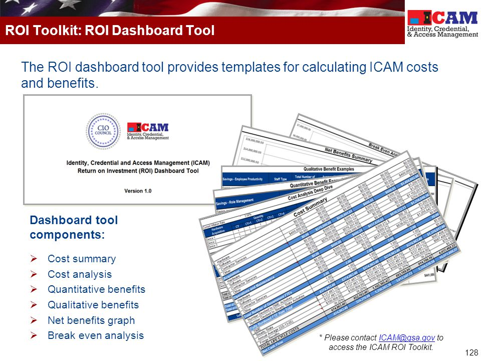 128 The ROI dashboard tool provides templates for calculating ICAM costs and benefits. ROI Toolkit: ROI Dashboard Tool Dashboard tool components:  Co