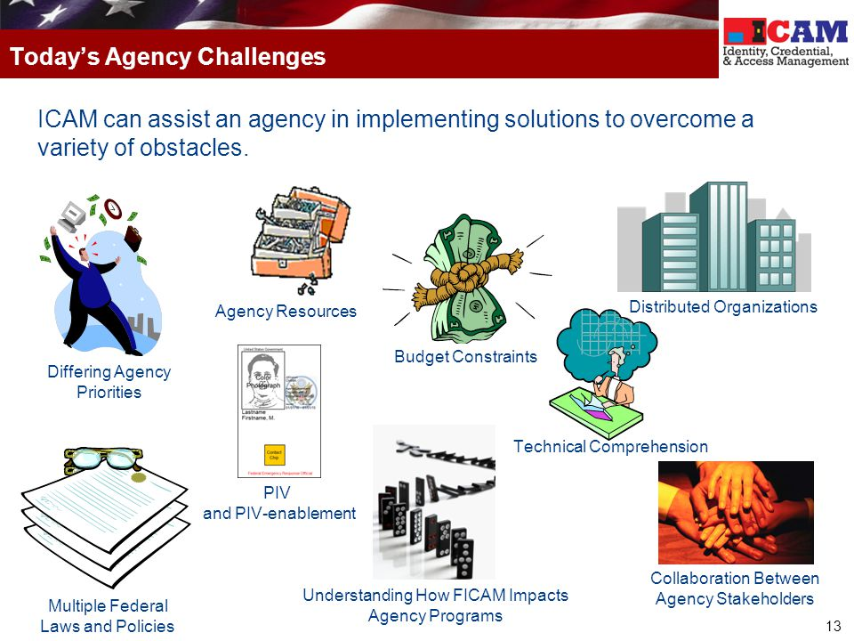 13 ICAM can assist an agency in implementing solutions to overcome a variety of obstacles. Today's Agency Challenges Budget Constraints Differing Agen