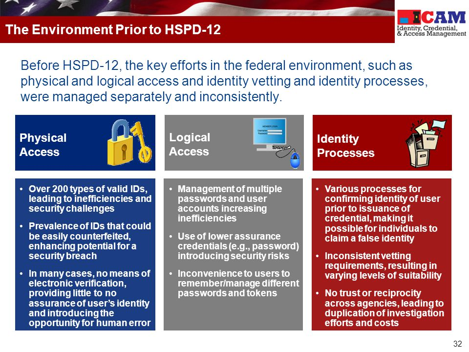 32 Before HSPD-12, the key efforts in the federal environment, such as physical and logical access and identity vetting and identity processes, were managed separately and inconsistently.
