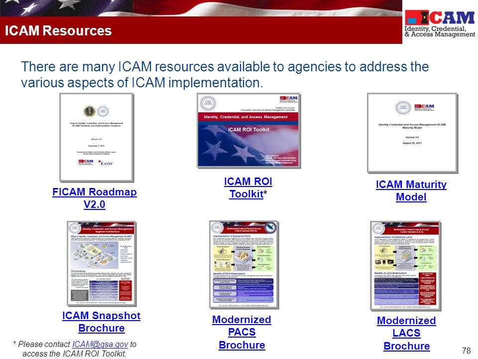 78 There are many ICAM resources available to agencies to address the various aspects of ICAM implementation. ICAM Resources FICAM Roadmap V2.0 ICAM R