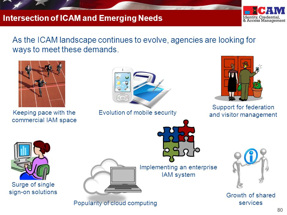 80 As the ICAM landscape continues to evolve, agencies are looking for ways to meet these demands. Intersection of ICAM and Emerging Needs Evolution o