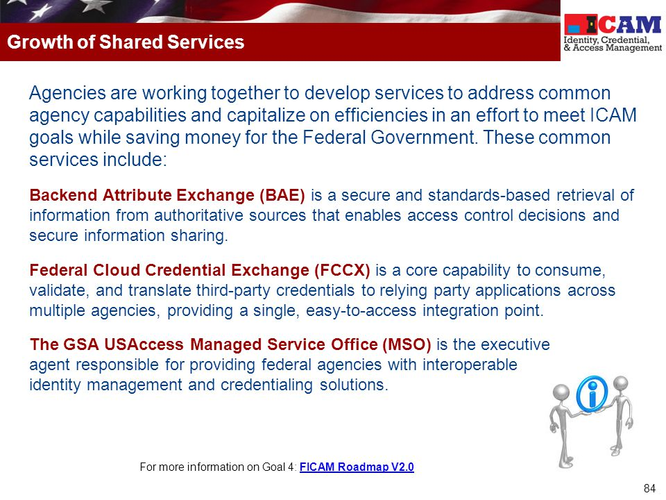 84 Agencies are working together to develop services to address common agency capabilities and capitalize on efficiencies in an effort to meet ICAM go