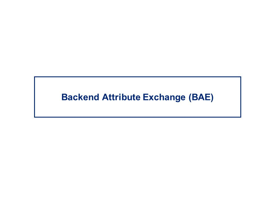 Backend Attribute Exchange (BAE)