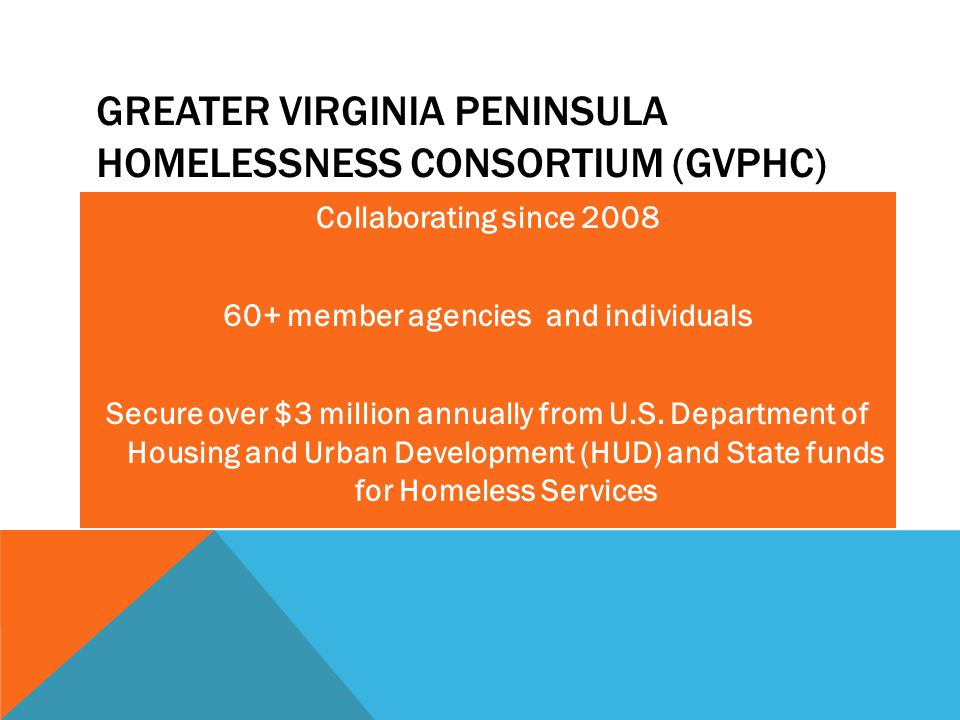 GVPHC Committees Services Coordination and Assessment Network (SCAAN) Homeless Management Information System (HMIS) Program Monitoring Housing and Service Resource SOAR Team Ad Hoc (Point in Time, etc.) GREATER VIRGINIA PENINSULA HOMELESSNESS CONSORTIUM