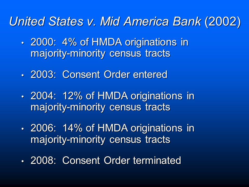 United States v. Mid America Bank (2002) 2000: 4% of HMDA originations in majority-minority census tracts 2000: 4% of HMDA originations in majority-mi